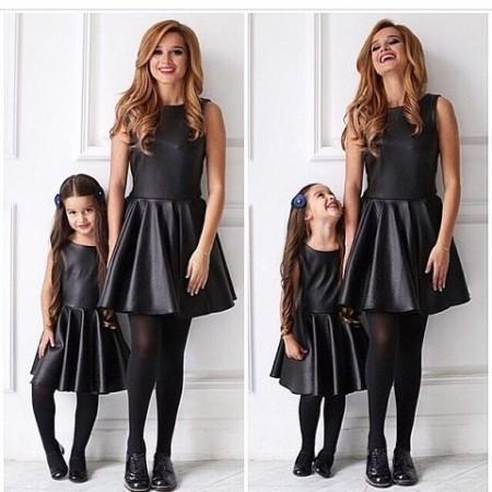 черные платья маме и детям бородина