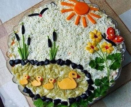 Украшение салатов с фото на день рождения