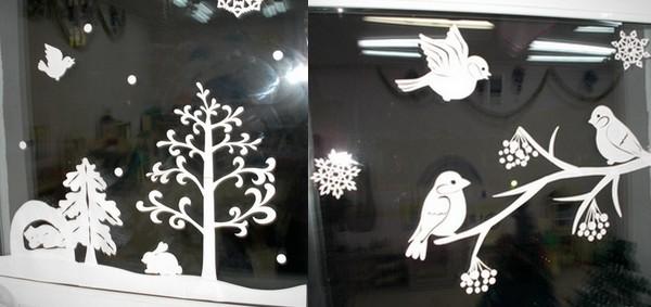 Новогодние вытынанки на окнах